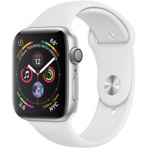 Apple Watch Series 4 44 mm (GPS) Silver Aluminum Case with White Sport Band (MU6A2)