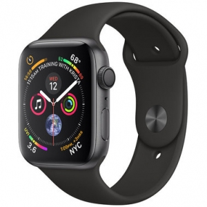 Apple Watch Series 4 44 mm (GPS) Space Gray Aluminum Case with Black Sport Band (MU6D2)