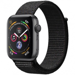 Apple Watch Series 4 44 mm (GPS) Space Gray Aluminum Case with Black Sport Loop (MU6E2)