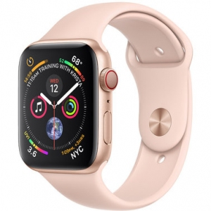 Apple Watch Series 4 44 mm (GPS + LTE) Gold Aluminum Case with Pink Sand Sport Band (MTV02)