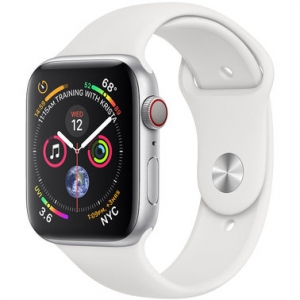 Apple Watch Series 4 44 mm (GPS + LTE) Silver Aluminum Case with White Sport Band (MTUU2)
