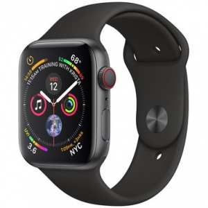 Apple Watch Series 4 44 mm (GPS + LTE) Space Gray Aluminum Case with Black Sport Band (MTUW2/MTVU2)