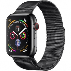Apple Watch Series 4 44 mm (GPS + LTE) Space Black Stainless Steel Case with Black Milanese Loop (MTX32/MTV62)