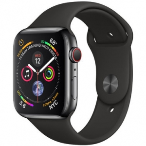 Apple Watch Series 4 44 mm (GPS + LTE) Space Black Stainless Steel Case with Black Sport Band (MTV52)