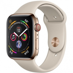 Apple Watch Series 4 44 mm (GPS + LTE) Gold Stainless Steel Case with Stone Sport Band (MTV72/MTX42)