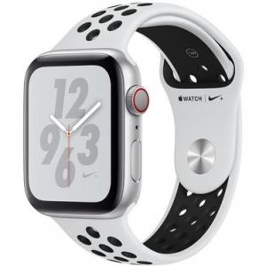 Apple Watch Series 4 Nike+ 44 mm (GPS + LTE) Silver Aluminum Case with Pure Platinum/Black Nike Sport Band (MTXC2/MTXK2)