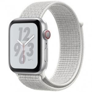 Apple Watch Series 4 Nike+ 44 mm (GPS + LTE) Silver Aluminum Case with Summit White Nike Sport Loop (MTXA2)