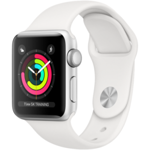 Apple Watch Series 3 38 mm (GPS) Silver Aluminium Case with White Sport Band (MTEY2)