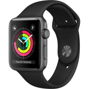 Apple Watch Series 3 42 mm (GPS) Space Gray Aluminium Case with Black Sport Band (MQL12/MTF32)