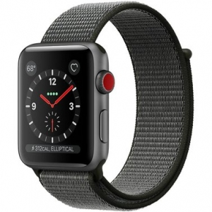 Apple Watch Series 3 38 mm (GPS + LTE) Space Gray Aluminum Case with Dark Olive Sport Loop (MQJT2)
