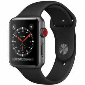 Apple Watch Series 3 38 mm (GPS + LTE) Space Gray Aluminum Case with Black Sport Band (MQJP2)