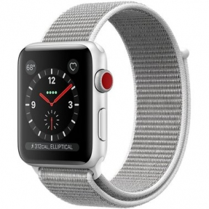 Apple Watch Series 3 42 mm (GPS + LTE) Silver Aluminum Case with Seashell Sport Loop (MQK52)