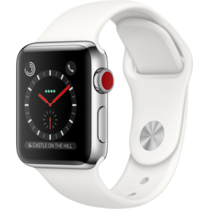 Apple Watch Series 3 38 mm (GPS + LTE) Stainless Steel Case with Soft White Sport Band (MQJV2)