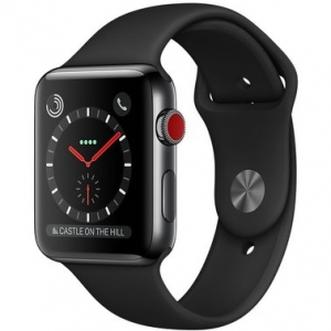 Apple Watch Series 3 42 mm (GPS + LTE) Space Black Stainless Steel Case with Black Sport Band (MQK92)