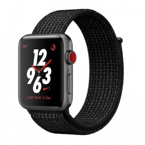 Apple Watch Series 3 Nike+ 38 mm (GPS + LTE) Space Gray Aluminum Case with Black/Pure Platinum Nike Sport Loop (MQL82)