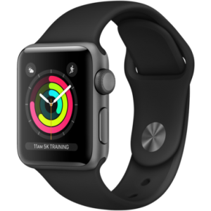 Apple Watch Series 3 38 mm (GPS) Space Gray Aluminum Case with Black Sport Band (MTF02)