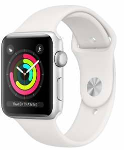 Apple Watch Series 3 42 mm (GPS) Silver Aluminium Case with White Sport Band (MTF22)