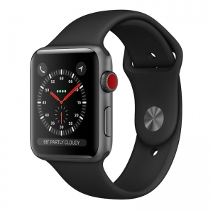 Apple Watch Series 3 38mm (GPS + LTE) Space Gray Aluminum Case with Black Sport Band (MTGH2)