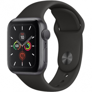 Apple Watch Series 5 40 mm (GPS) Space Gray Aluminum Case with Black Sport Band (MWV82)