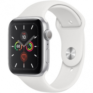 Apple Watch Series 5 44 mm (GPS) Silver Aluminum Case with White Sport Band (MWVD2)