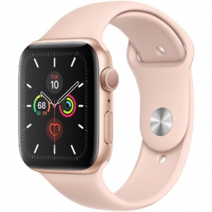 Apple Watch Series 5 44 mm (GPS) Gold Aluminum Case with Pink Sand Sport Band (MWVE2)
