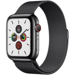 Apple Watch Series 5 44 mm (GPS + LTE) Space Black Stainless Steel Case with Space Black Milanese Loop (MWW82, MWWL2)