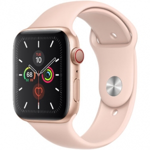 Apple Watch Series 5 44 mm (GPS + LTE) Gold Aluminum Case with Pink Sand Sport Band (MWW02)