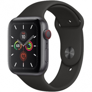 Apple Watch Series 5 44 mm (GPS + LTE) Space Gray Aluminum Case with Black Sport Band (MWW12)