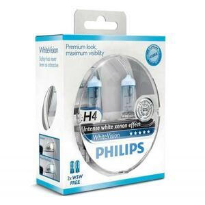 Автолампа PHILIPS H4 WhiteVision +60%, 3700K, 2шт (12342WHVSM)