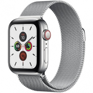 Apple Watch Series 5 40 mm (GPS + LTE) Stainless Steel Case with Silver Milanese Loop (MWWT2/MWX52)