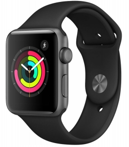 Apple Watch Series 3 42mm (GPS) Space Gray Aluminum Case with Black Sport Band (MQL12/MTF32)