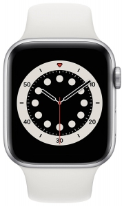 Apple Watch Series 6 44mm (GPS) Silver Aluminum Case with White Sport Band (M00D3)