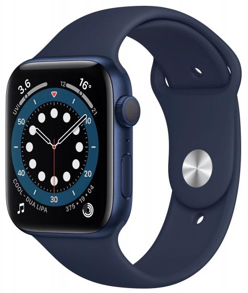 Apple Watch Series 6 44mm (GPS) Blue Aluminum Case with Deep Navy Sport Band (M00J3) - 1