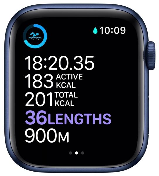 Apple Watch Series 6 44mm (GPS) Blue Aluminum Case with Deep Navy Sport Band (M00J3) - 4