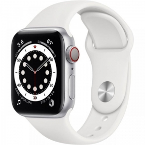 Apple Watch Series 6 44mm (GPS+LTE) Silver Aluminum Case with White Sport Band (M07F3/MG2C3)