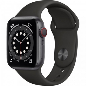 Apple Watch Series 6 44mm (GPS+LTE) Space Gray Aluminum Case with Black Sport Band (M07H3)