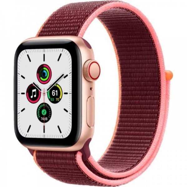 Apple Watch SE 40mm (GPS+LTE) Gold Aluminum Case with Plum Sport Loop (MYEC2/MYEJ2) - Apple Watch SE 40mm (GPS+LTE) Gold Aluminum Case with Plum Sport Loop (MYEC2/MYEJ2)