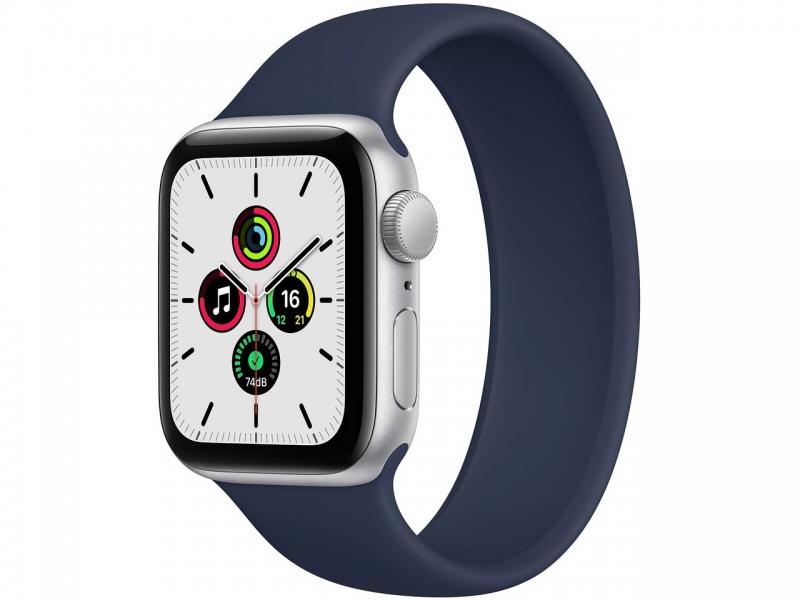 Apple Watch SE 44mm (GPS+LTE) Silver Aluminum Case with Deep Navy Sport Band (MYEN2/MYEW2) - Apple Watch SE 44mm (GPS+LTE) Silver Aluminum Case with Deep Navy Sport Band (MYEN2/MYEW2)