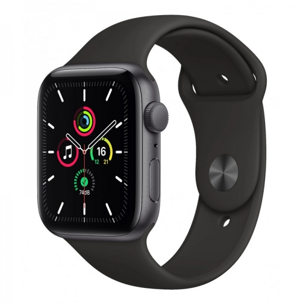 Apple Watch SE 44mm (GPS+LTE) Space Gray Aluminum Case with Black Sport Band (MYER2) - Apple Watch SE 44mm (GPS+LTE) Space Gray Aluminum Case with Black Sport Band (MYER2)